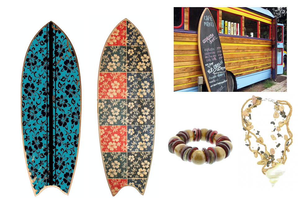 Decoraciones y escaparates de verano con tablas de surf
